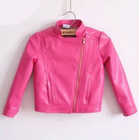 Children's clothing 2013 child baby female child fashion stand collar top PU clothing jacket coat
