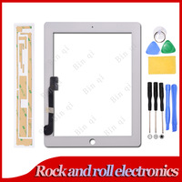 White For iPad 3 iPad 4 Touch Screen Digitizer Glass Replacement + Adhesive/Sticker + Tool No IC