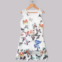 New Arrival Kids Flower Dresses Baby Polyester Dress Girls 2014 New Year Children Fashion Wear Ready Stock