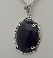 2014 fashionable adornment art act the role ofing is tasted ancient silver sapphire pendant