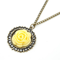 Min Order $10(mix order)Free Shipping!Fashion Accessories Nostalgic Vintage Rose Flower Long Design Necklace For Women A176
