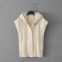 Women's slim twist crochet with a hood berber fleece hat short-sleeve sweater cardigan