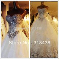 New Design NV-777 Elegant A-Line Sweetheart Crytals Appliques Beads Satin Wedding Dress White/Ivory VESTIDO DE NOIVA