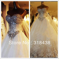 New Design NV-777 Elegant A-Line Sweetheart Crytals Appliques Beads Satin Wedding Dress White/Ivory Custom-made