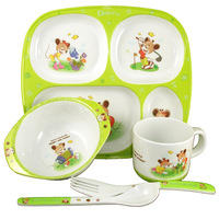 Child tableware set baby tableware melamine ceramic infant supplies bowl dish glass spoon fork 5 piece /lot