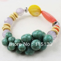 Vintage Natural Turquoise Stone Beads Bracelets For Women Twisted Colorful Stone Charm Bracelets Handmade Fashion Jewelry