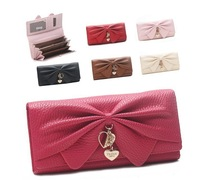 New Fashion Long Bowknot Ladies Clutch Wallet Multifunction Women Purse Handbag