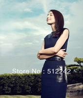 new 2013 spring summer autumn women European style PU leather patchwork deep blue 4size  tank dress dresses free shipping hxh