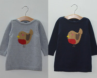 1-4 years Autumn brand baby clothing dresses children baby girls dress knitted sweater bird pattern cartoon dress for girl kids