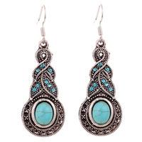 Yazilind Jewelry Charming Ethnic Tibetan Silver Oval Rimous Turquoise Crystal Drop Dangle Earrings Christmas Gift for Women