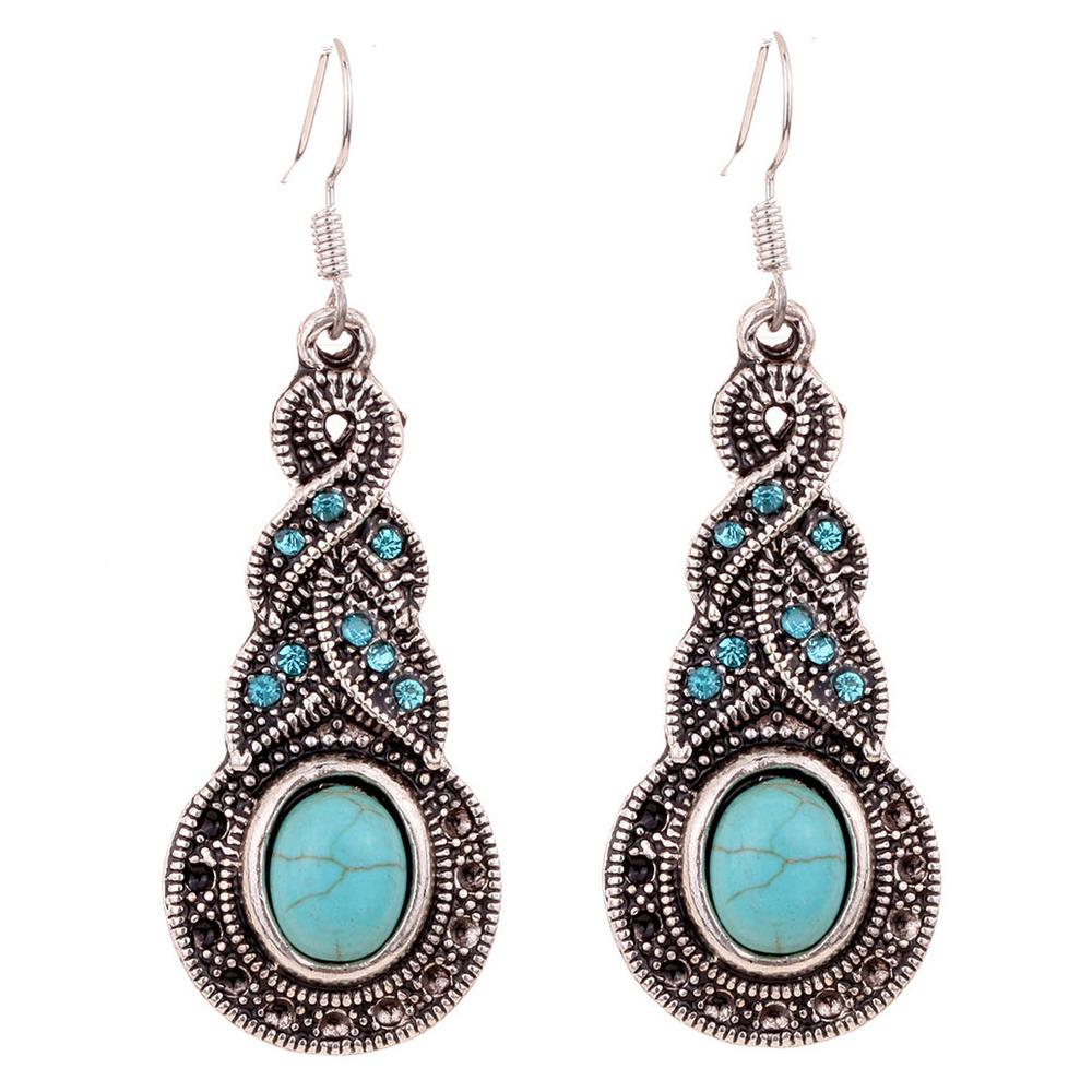 Yazilind Jewelry Charming Ethnic Tibetan Silver Oval Rimous Turquoise Crystal Drop Dangle Earrings Christmas Gift for Women(China (Mainland))