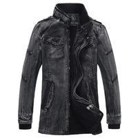 2014 Vintage Wash Mens Denim Jacket Motorcycle Jackets For Men Plus Velvet Warm Windbreaker Thicken Fur Inside Trench Coat