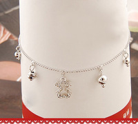 crystal little bear pendant silver anklet jewellery