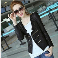 Free shipping 2013 sale autumn and winter Slim o-neck PU leather motorcycle jacket women short leather jacket 35911121050
