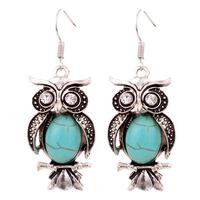 Yazilind Jewelry Charming Crystal Tibetan Silver Turquoise Owl Drop Dangle Earrings Christmas Gift for Women
