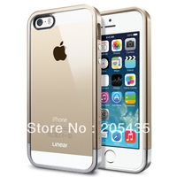 Newest Clear Back Panel Sgp Spigen Champagne Gold Linear Case For iPhone 5 5G 5S iphone5 +1 Pc Silver Low Part