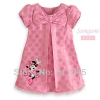 Retail Pink Polka Dots Minnie Mouse Dresses for Girls Casual Summer Baby Wear Fashion Kids Clothes Children Clothing Outerwear