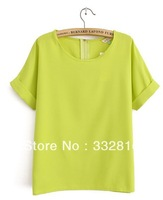 Free shipping !  Hot sales!  European women fashion candy color lax round collar short sleeve chiffon unlined upper garment