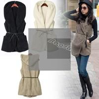 2013 Hot Sales 5 Colors Fashion Womens Ladies Hoodie Faux Lamb Fur Long Vest Jacket Coat With Hat 7669 F