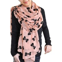 Hot New Cute Womens Soft Scarf Wrap Chiffon Bowknot Print Shawl Scarves Neck Scarf Stole SC-00311
