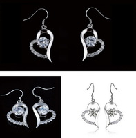 NEW 2013 Fashion Brand 925 Sterling Silver with Swiss Zircon Drop Earrings for Women E061,Free Shipping