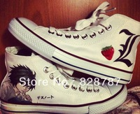 Free shipping Hot Sale Death Note L siparis High-top Painted Canvas Shoes Casual for man and woman