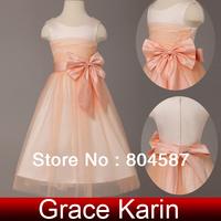 GK Free ship Hot cheap flower girl dress for wedding kids Tulle princess dress girls' party evening gown 2014 CL4837
