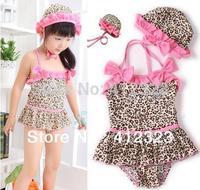 2014 new girls Swim wear baby kids Leopard swimwear set clothes 2pcs suit hat +dress swimsuit children  costume clothing