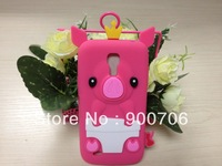 cute crown pig silicone case for samsung galaxy mini S IV I9190 1pcs silicone case for samsung galaxy mini S IV I9190