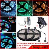 High quality! 10m 300 LED rgb 3528 SMD No-waterproof 12V flexible light 60 led/m, LED strip, + 44 key IR Remote + 12V 5A power