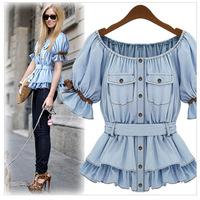 2014 NEW, European style Denim short sleeve ladies blouse women's shirt YS