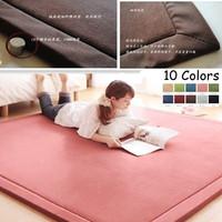 100% Polyester Coral Velvet 130*190cm Tatami Floor Mats Children Crawling Blanket  10 Colors Yogoa Easy Portable Carpet