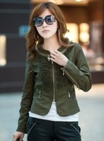 Free shipping 2013 sale autumn brand vintage lace women short leather jacket quality leather wind-jacket 36019159134