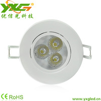 Free shipping(5pcs/lot) 3W LED high quality downlight,300lm, 85-265V led down light