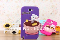 cute coffee rabbit silicone case for samsung galaxy note II n7100 n7102 n7105 1pcs silicone case for samsung galaxy note 2