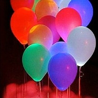 Wholesale 50pcs/lot Monochrome Led  Flash Latex Balloons For Wedding Party Christmas New Year Decoration (Random mix colors)