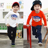 Baby Kids Boys Bottoming Base Shirts Long Sleeve Milk Printed T Shirts Tops 1-6Y Free shipping &Drop shipping XL243