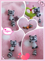Handmade polymer clay cartoon small raccoon stud earring civets new arrival personality