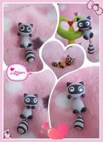 Handmade polymer clay cartoon small raccoon stud earring civets new arrival personality