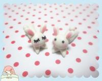 Handmade polymer clay cartoon stud earring personalized stud earring rabbit