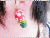 Handmade polymer clay cartoon flower stud earring hippo1 anthropophagy flowers stud earring