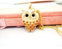 2013 cute full Crystal Bohemia owl necklace for women