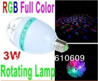 RGB Full Color 3W E27 LED Bulb Crystal Auto Rotating Stage Effect DJ Light Bulb Mini laser Stage Light
