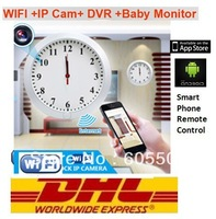 DHL/Fedex/EMS Free Shipping Wifi IP Wall Clock Camera Baby Monitor Smart Phone Control