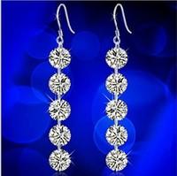 925 Pure Silver Earring Female Long Design Fashion Big Earrings Crystal Tassel Drop Earring R28