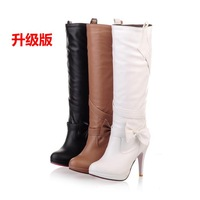 Trend 13 sexy slim bow high-heeled platform boots long boots high-leg boots