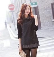 2013 New Women  Clothes Cotton Wool Blends Fashion  Long Sleeve Dress  Warm  Autumn Winter Bottoming Shirt Plus Size Dark Grey