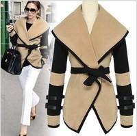Free shipping 2013 new british style victoria personalized fashion wool coat women elegant wool jacket overcoat PLUS SIZE