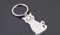 Wholesale metal keychain with cat design gift key rings 10PCS/LOT free shipping