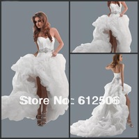 High Sale 2012 Sexy Hi-low Bridal Gowns Organza Bubble Hem Lace Up Back Wedding Dresses CTH